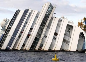 The capsized cruise liner Costa Concordia is pictured outside Giglio harbour